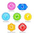 seven chakras icons set vector image