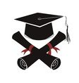 isolated black graduation cap and diploma vector image vector image