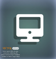 monitor icon symbol on the blue-green abstract vector image