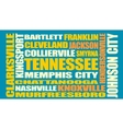 Tennessee state cities list vector image
