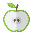 apple cut flat icon food and drink half sign vector image