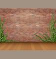 ivy red brick wall parquet floor vector image