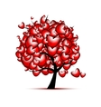 Love tree design with red hearts for valentine day vector image vector image