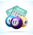 Bingo balls and cards vector image vector image