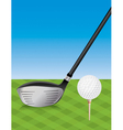 Golf Driver and Teed Ball vector image