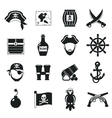 Pirate icons set black vector image