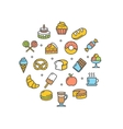 Bakery Round Design Template Thin Line Icon vector image