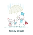 family doctor holding an umbrella from the rain on vector image