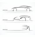 Sports car silhouette set vector image