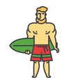 strong bearded man with surfing board surfer vector image