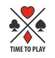 casino poker cards suits symbols template vector image