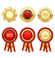 red award rosettes and gold heraldic medals vector image