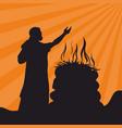 abraham brings the sacrifice vector image