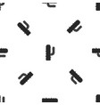 mexican cactus pattern seamless black vector image