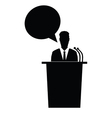 speaker talk black silhouette vector image