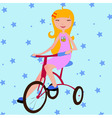little girl riding a bicycle vector image