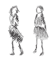 Fashion models sketch vector image
