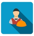 Waiter Flat Rounded Square Icon with Long Shadow vector image