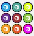 Billiards icon sign Nine multi colored round vector image