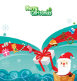 Santa Claus In Chimney With Gift Box And Ornaments vector image vector image