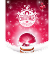 Christmas typographic design and snow globe vector image