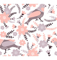 Cute cartoon birds and flowers in Stylish floral vector image