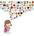 Cute cartoon doodle pupils study kids vector image