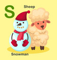 isolated animal alphabet letter s-snowman sheep vector image