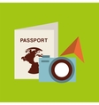 passport travel camera sunglasses vector image