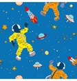 Seamless pattern with astronauts UFOs planets vector image