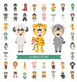 Set of 40 Animal costume characters vector image