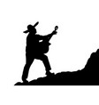 silhouette of a mexican musician playing serenade vector image