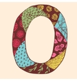 Vintage monogram O Doodle colorful alphabet vector image