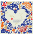 White background heart is surrounded of fishes vector image