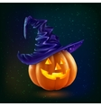 Realistic happy Halloween pumpkin in violet vector image