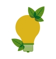 yellow light bulb with leaves vector image