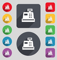 Cash register icon sign A set of 12 colored vector image