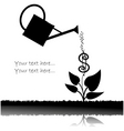 water can watering plant with dollar vector image