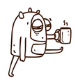 Hand Drawn Tired Alien with Coffee vector image