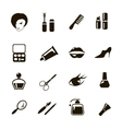 beauty and make up black icons vector image