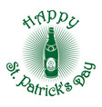 beer bottle with the image of clover st patricks vector image