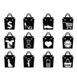 black shopping bag icons set vector image