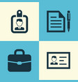 business icons set collection of id badge vector image