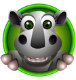 cute rhino head cartoon vector image