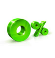 green zero percent or 0 isolated on white vector image