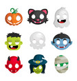 halloween monster head icons vector image