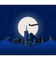 Night city with white moon vector image