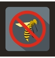 No wasp sign icon flat style vector image