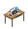 Online education Students are taught online Flat vector image