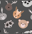 seamless texture with cartoon animals pattern vector image